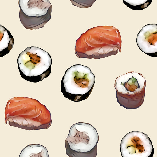 Food Fabric, Sushi Fabric, Cotton or Fleece, 3344