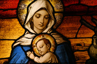 Religious Fabric, Stained Glass Fabric Panel Mary and Baby Jesus 10424 - Beautiful Quilt