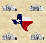 Texas Fabric, Texas Flag and the Alamo Fabric, Cotton or Fleece 1532 - Beautiful Quilt