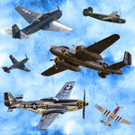 Military Fabric, Airforce, WW II Airplanes, Cotton or Fleece 2340 - Beautiful Quilt