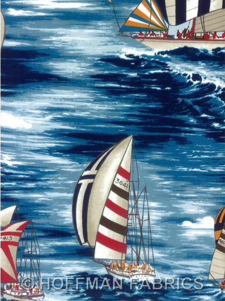 Sail Boat Fabric Hoffman Fabric sailing blue 2099