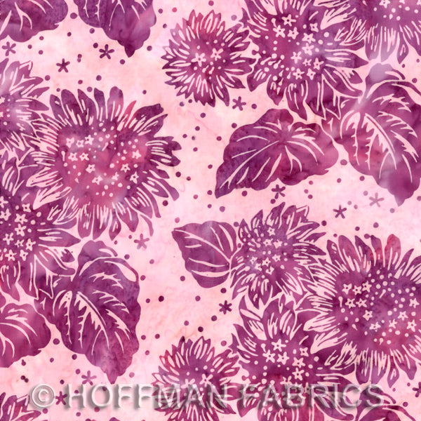 Batik Fabric Hoffman Fabric flower and leave pink 2516