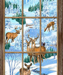 Christmas Fabric Snowy Christmas Deer Panel 5656