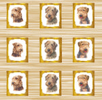 Dog Fabric, Airedale Fabric, 9 dogs in frames, Cotton or Fleece, 3318 - Beautiful Quilt