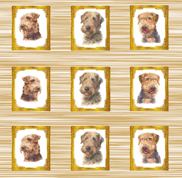 Dog Fabric, Airedale Fabric, 9 dogs in frames, Cotton or Fleece, 3318