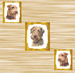 Dog Fabric, Airedale Fabric Diagonal Dogs in Frames, Cotton or Fleece, 3317 - Beautiful Quilt