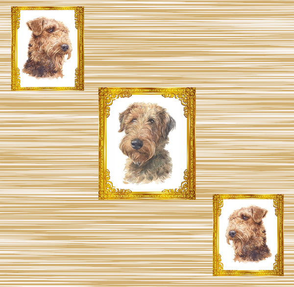 Dog Fabric, Airedale Fabric Diagonal Dogs in Frames, Cotton or Fleece, 3317