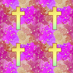Religious Fabric, Cross Fabric, on a pink and purple background 10420