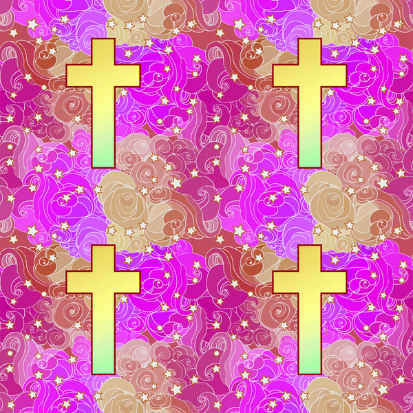 Religious Fabric, Cross Fabric, on a pink and purple background, Cotton or Fleece 10420 - Beautiful Quilt
