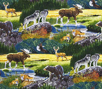 Wildlife Fabric Bear Wolf Elk Bringing Nature Home 5695 - Beautiful Quilt