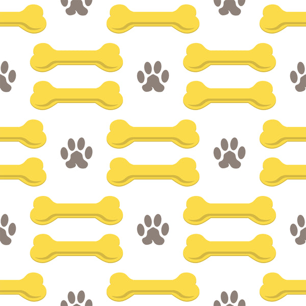 Dog Fabric Paw and Bone Fabric On Point Gray and Yellow 5707