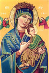 Religious Fabric, Our Lady of Perpetual Help Fabric Panel, Gold and Blue 1551