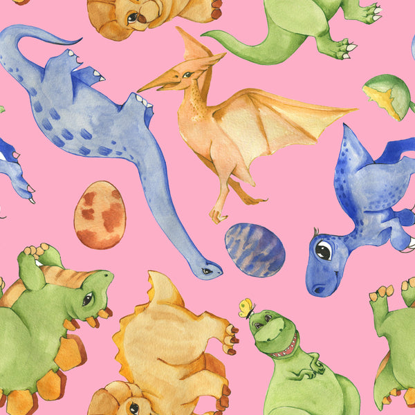 Dinosaur Fabric, Baby Dinosaur Fabric, Watercolor, Pink or Blue, Cotton or Fleece 2165 - Beautiful Quilt