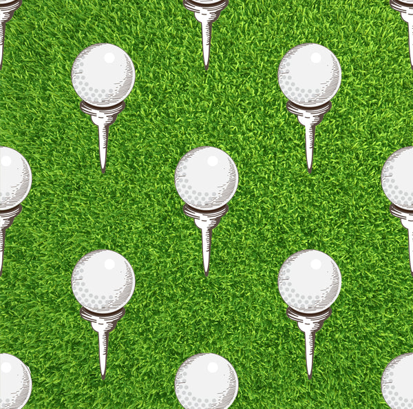 Golf Fabric, Golf Balls on Tees Fabric, Cotton or Fleece 3034 - Beautiful Quilt