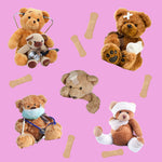Medical Fabric, Bandages Pink, Teddybear Fabric, Cotton or Fleece 1690 - Beautiful Quilt