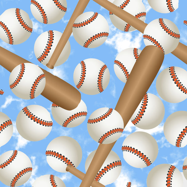 Baseball Fabric, Batts and Balls on a Sky Blue Background, Cotton or Fleece 1787 - Beautiful Quilt