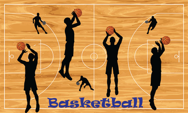 Sports Fabric Basketball Fabric Panel, Basketball Court with Players 1201 - Beautiful Quilt
