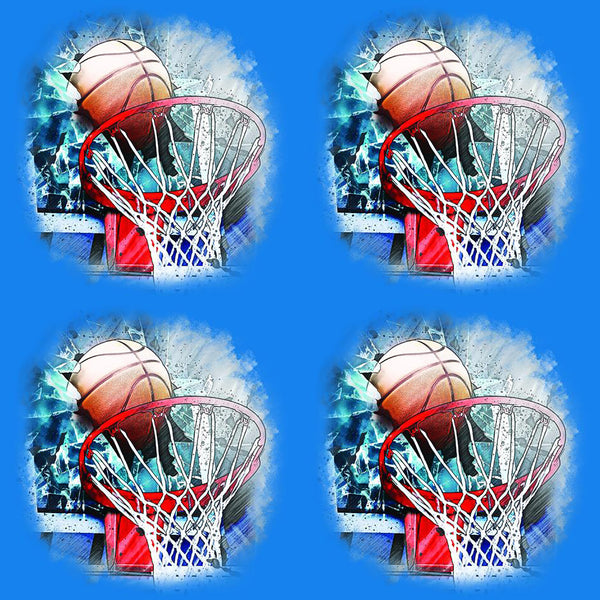 Sports Fabric, Basketball Fabric,  Ball Hitting the Backboard, Cotton or Fleece 1913 - Beautiful Quilt