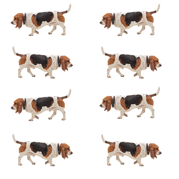 Dog Fabric, Basset Hound Fabric, Walking and Standing, Cotton or Fleece 3027