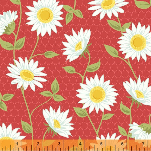 Flower Fabric Windham Oh Clementine mini flowers green 3951