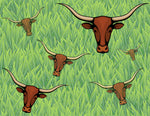 Farm Fabric, Texas Longhorn Cow fabric on Green 5821