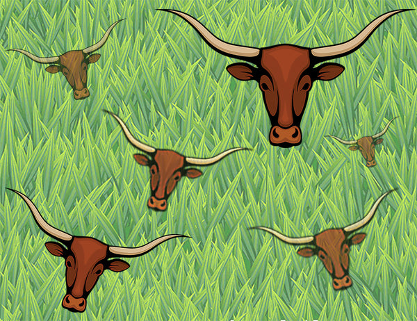 Farm Fabric, Custom, Texas Longhorn Cow fabric on Green, cotton or fleece 5821 - Beautiful Quilt