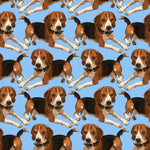 Dog Fabric, Beagle Fabric on Blue, Cotton or Fleece 2134 - Beautiful Quilt