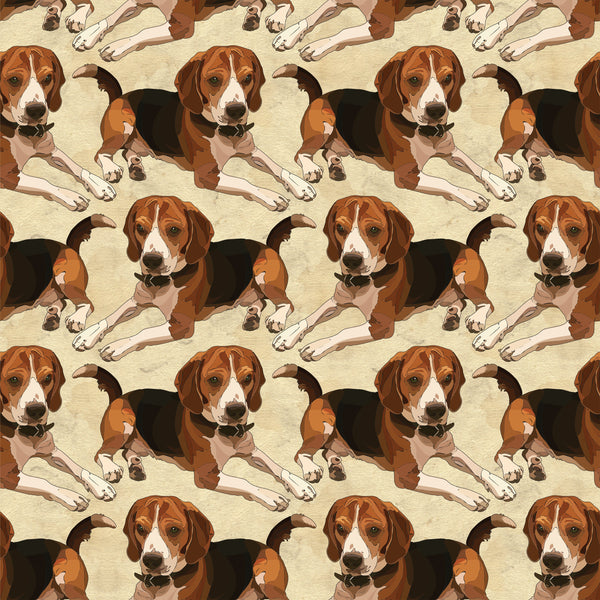 Dog Fabric, Beagle fabric on tan 1463 - Beautiful Quilt