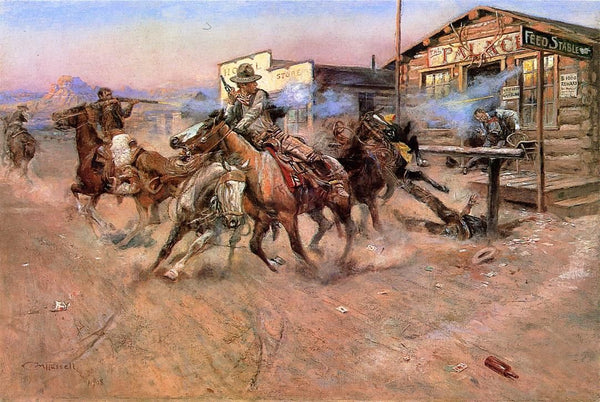 Western Fabric, Poker Fight on Horseback painting by Charles Russell 1166