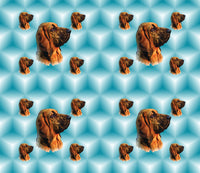 Dog Fabric, Bloodhound Fabric on Teal, Cotton or Fleece, 3030 - Beautiful Quilt
