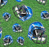 Sports Fabric, Football Fabric, Blue Helmet Fabric, Cotton or Fleece 1147 - Beautiful Quilt