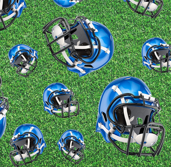 Sports Fabric, Football Fabric, Blue Helmet Fabric 1147 - Beautiful Quilt