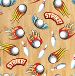 Sports Fabric, Bowling Fabric, Strike, Cotton or Fleece, 2091 - Beautiful Quilt