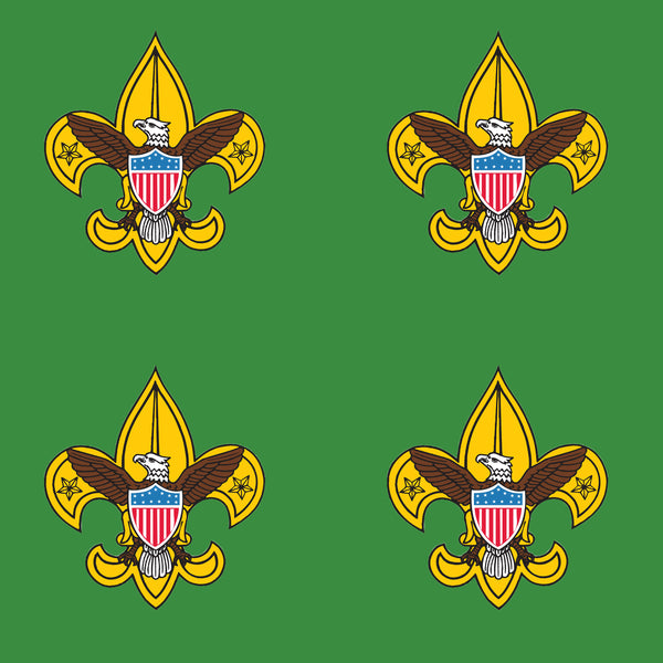 Boy Scout Fabric, Boy Scout Emblem on Green, Cotton or Fleece 2030 - Beautiful Quilt