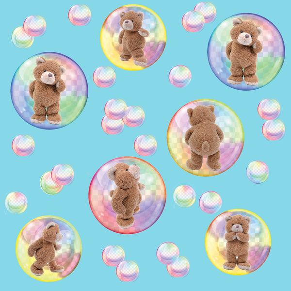 Children's Fabric, Teddy Bear Fabric in Bubbles, Cotton or Fleece 1794 - Beautiful Quilt