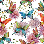 Butterfly Fabric with Flowers, Watercolor Fabric, Cotton or Fleece 1594 - Beautiful Quilt