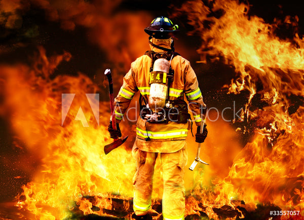 Fire Fighter Fabric, Firefighter with flames behind 5746