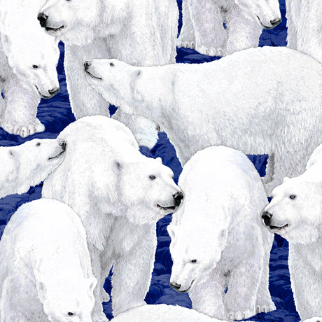 Wildlife Fabric Polar Bear Fabric Northern Lights 5011