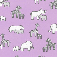 Flannel Fabric, Little Safari, Baby Animal Elephant Lavender 5540 - Beautiful Quilt