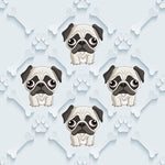 Dog Fabric, Pug Fabric Pugs with Bones on blue 5714