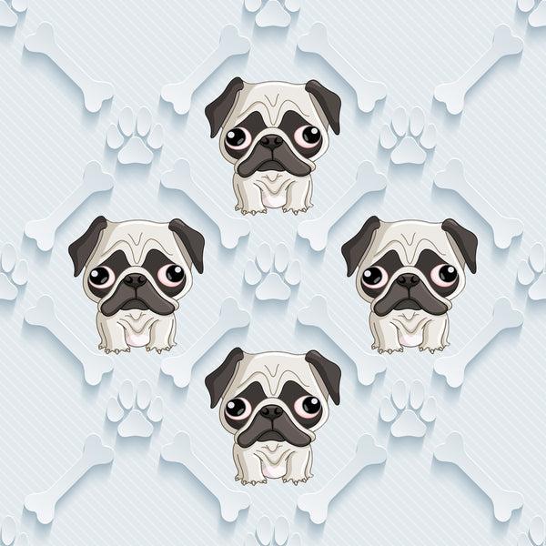 Dog Fabric, Pug Fabric, Custom Print Fabric, Pugs with Bones on blue 5714 - Beautiful Quilt