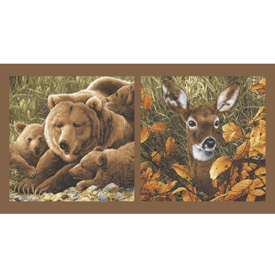 Wildlife Fabric Bear Fabric Northwoods Deer Panel 4968 - Beautiful Quilt