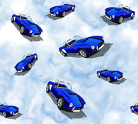 Car Fabric, Blue cars on a sky background, Cotton or Fleece 520 - Beautiful Quilt
