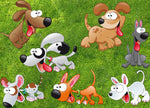 Cartoon Dog Fabric, Funny Dog Fabric, Cotton or Fleece 1848