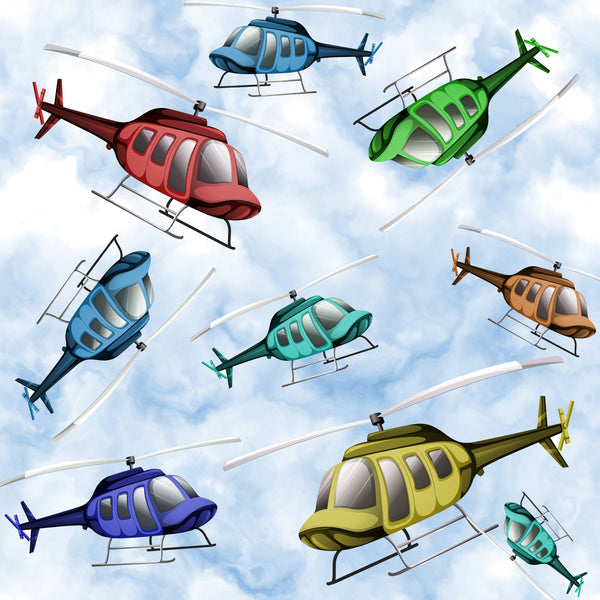 Helicopter Fabric, Tossed Helicopter, Cotton or Fleece 2191 - Beautiful Quilt