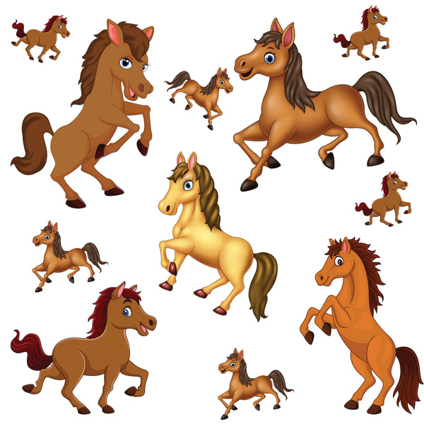 Horse Fabric, Cartoon Horse Fabric, Cotton or Fleece 2046 - Beautiful Quilt