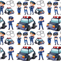 Police Fabric, Cartoon Police Officers and Cars, Cotton or Fleece 1284 - Beautiful Quilt