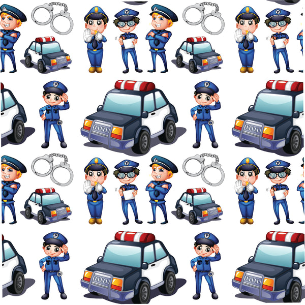 Police Fabric, Cartoon Police Officers and Cars 1284