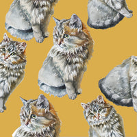 Cat Fabric, Tabby Cat on Gold Fabric, Cotton or Fleece 2061 - Beautiful Quilt