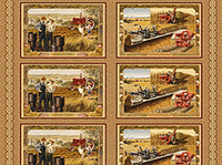 Tractor Fabric Panel VIP Exclusive Fabric Harvester brown 1965 - Beautiful Quilt
